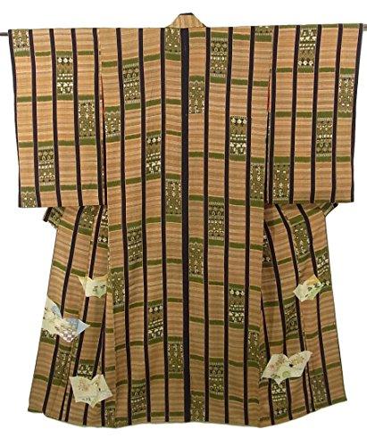 略奪発火する製品アンティーク 着物 散歩着 縞に装飾文様 草子文様 正絹 袷 裄61cm 身丈151cm