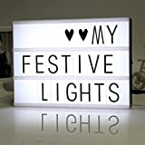 DAN Mini Cinematic Light Box Free Combination with 104 DIY Letters USB LED Light Message Board Lamp A4 Size (A4, Black-Letters)