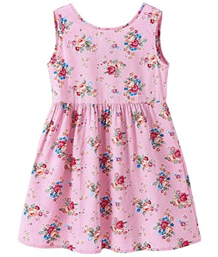 DHASIUE Girls Dress Kid Floral Sleeveless Cotton Sundress Summer Girl Clothes Size 2-7 Years