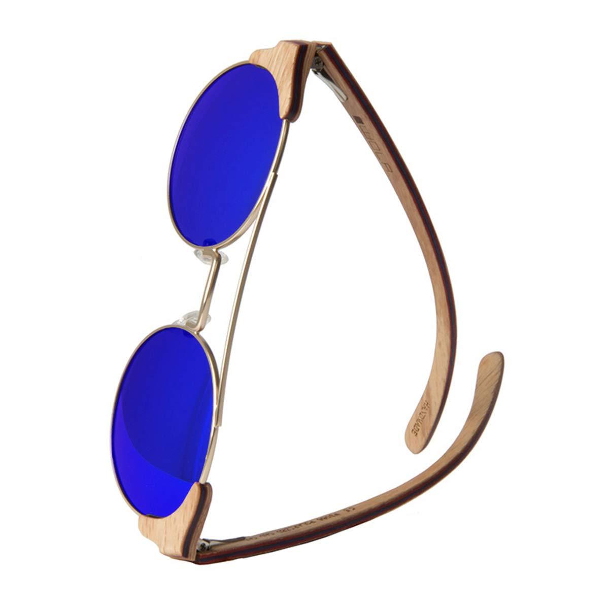 WOLA estilo de redonda gafas de sol en madera FEU mujer y hombre madera, sunglasses UV400 - polarisado