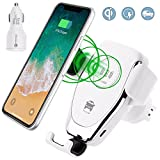 Wireless Charger Car, Fast Wireless Charger Mount for IPhone X, 8/8 Plus, Samsung Galaxy S9 / S9 Plus / S8 / S8 Plus / S7/ S7 edge / S6 Edge Plus,Note 8 (White)