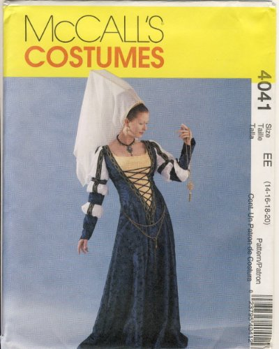 Mccalls Costume Patterns Medieval (McCall Sewing Pattern 4041 EE - Use to Make - Misses Renaissance / Medieval Costume - Sizes 14, 16, 18, 20)