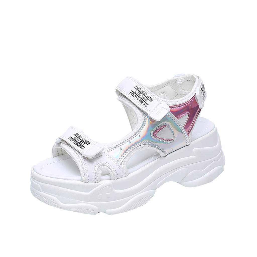 Sanyyanlsy Girls Sports Hook and Loop Strap Sandals Mid Heel Letter Print Hollow-Out Sandals Summer School Street Style White by Sanyyanlsy