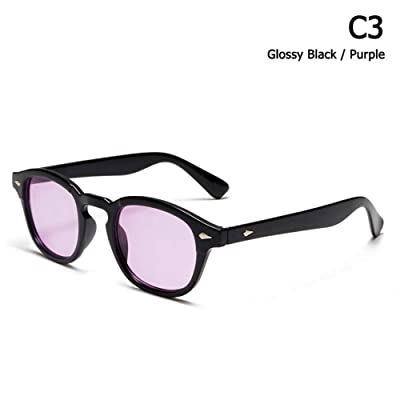 ZHOUYF Gafas de Sol Moda Johnny Depp Lemtosh Style Tint Ocean Lens Gafas De Sol Vintage Classic Round Brand Design Gafas De Sol Oculos Sol, C: Deportes y aire libre