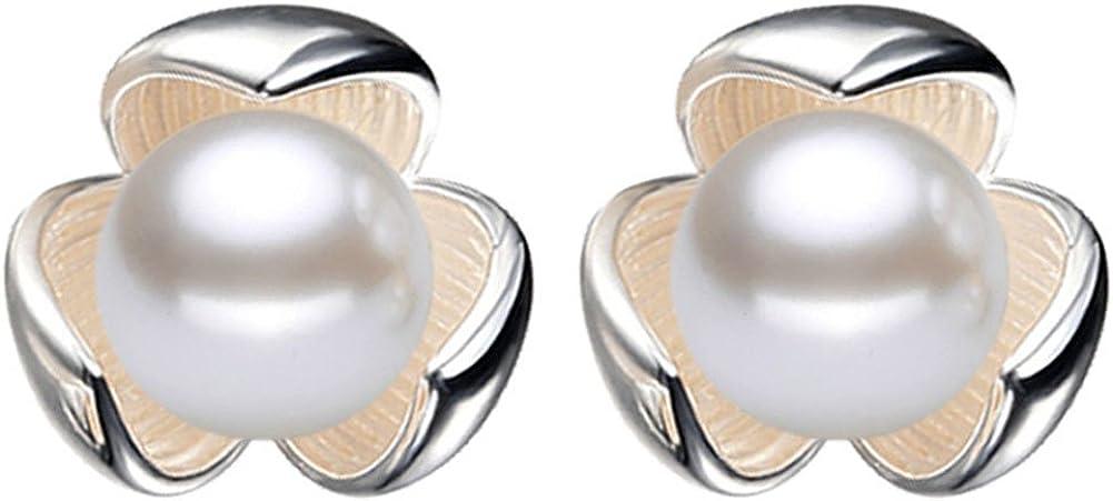 Hosaire Pendientes de Plata de Lucky Clover Perla Moda Muchachas de las de Botón Nuevo Estilo para Mujeres de la Joyería Accesorios