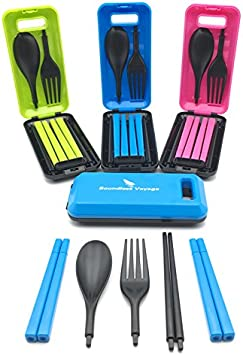 Boundless Voyage - Cubiertos plegables de plástico ABS para camping (cuchara, tenedor y palillos), incluye caja