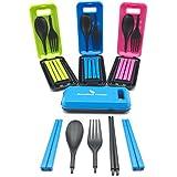 Boundless Voyageポータブル食器 3色選択可 折りたたみ式 フォーク 箸 スプーン アウトドア旅行キャンプ 3点セット食器(色: ピンク)