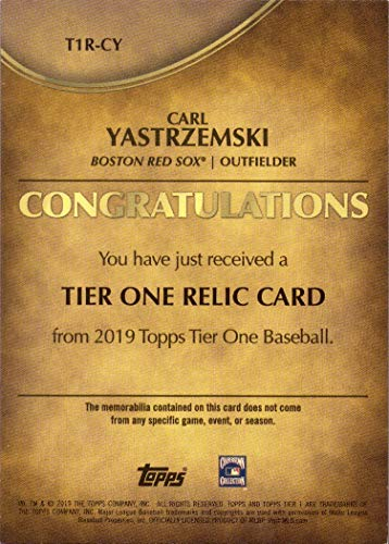 Only 399 made! 2019 Topps Tier One Relics #T1R-CY Carl Yastrzemski Game Worn Red Sox Jersey Baseball Card