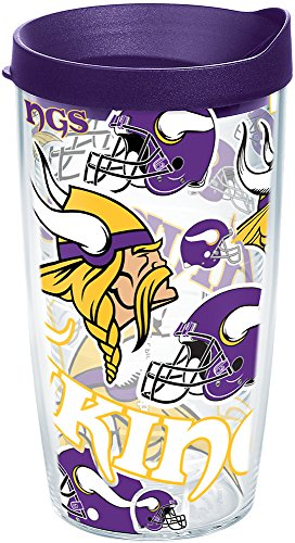 Tervis 1248193 NFL Minnesota Vikings All Over Tumbler with Wrap and Royal Purple Lid 16oz, Clear