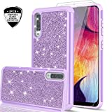 Samsung Galaxy A50 Case with Tempered Glass Screen Protector [2 Pack] for Girls Women, LeYi Glitter Bling Sparkle Dual Layer Heavy Duty Protective Phone Cover Cases for Galaxy A50 / A505U Violet