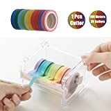 DoGeek DIY Washi Tape with Tape Cutter Set,Transparent Desktop Tape Dispenser,Rainbow Candy Colorful Tape for Crafts, Scrapbook,Festival Gift Wrapping,Office Party Supplies,Cards