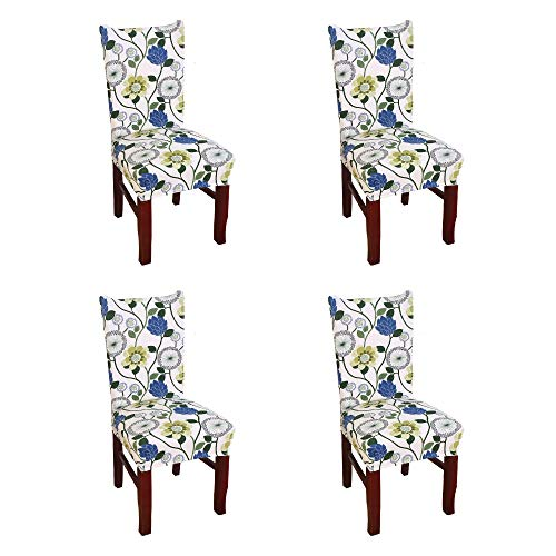 Argstar 4 Pack Chair Covers for Dining Room Spendex Slipcovers Blue Flower Design (Chairs Slipcovers For Dining)