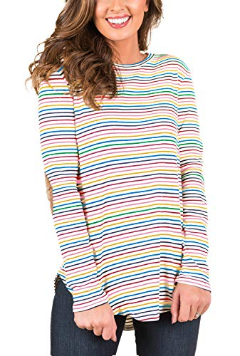 (Blooming Jelly Womens Black and White Striped T Shirts Long Sleeve Elbow Patch Crew Neck Casual Tunic Tops (Small,)