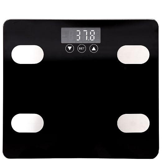 Báscula de grasa corporal, pantalla digital inteligente, báscula de baño de cuerpo completo, 180 kg, ultra delgado, 23 mm, analizador de composición ...