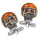 Link Up Men's Moto Skull Cufflinks with Orange Helmet and Red Eyes
