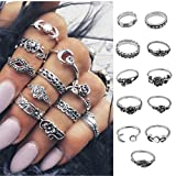 Meolin 11 Pcs Bohemian Silver Plated Rings Vintage Rings