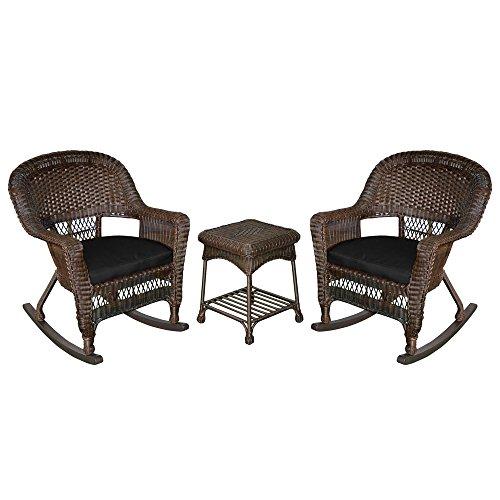 Jeco W00201R-A_2-RCES017 3 Piece Rocker Wicker Chair Set with Black Cushion, ()