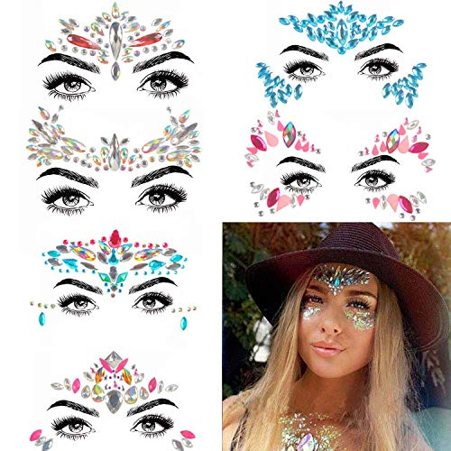 - COKOHAPPY 6 Sets Rhinestone Mermaid Face Jewels Tattoo - BODY STICKERS Crystal Tears Gem Stones Bindi Temporary Stickers (Collection 3)
