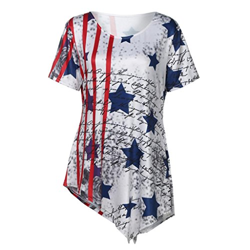 Women American Flag T-Shirt Tops,Hemlock Short Sleeve July 4 Star Flag Print Shirt Blouse Vest Tees (XL, White) -