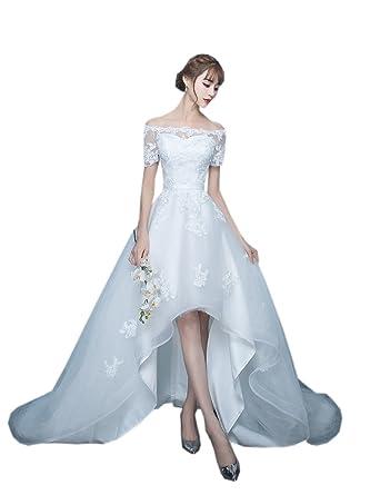 Mollybridal Hi Low Wedding Dresses For Bride Short Front Long Back