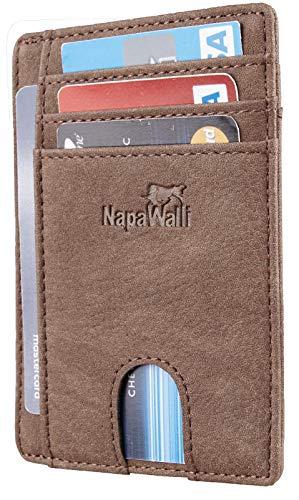 Toughergun RFID Blocking Minimalist Genuine Leather Slim Front Pocket Wallet U (Chelsea Coffee) (The Best Mens Wallet In The World)