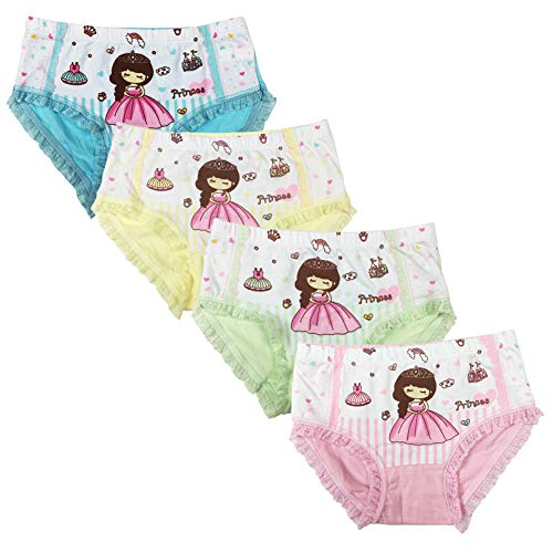 Core Pretty Kids Series Comfy Cotton Baby Underwear Little Girls Assorted Briefs Princess Panties Children Novelty Lingerie(Pack of 4) (Princess ONE, 5-7T) ()