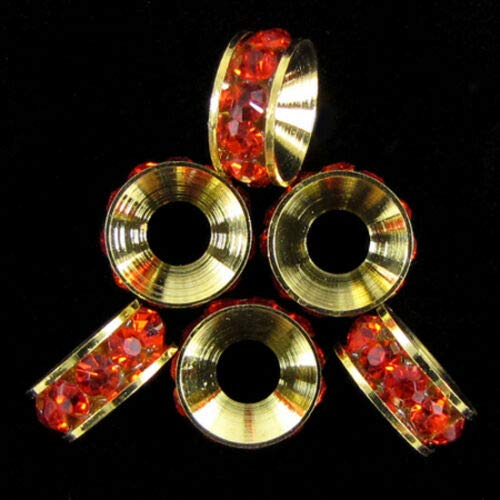 - buyallstore 6 10mm Gold Plated Rhinestone rondelle Beads red findings