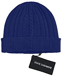 State Cashmere 100 Pure Cashmere Cable Knit Beanie Hat Ultimate Soft Warm And Cozy