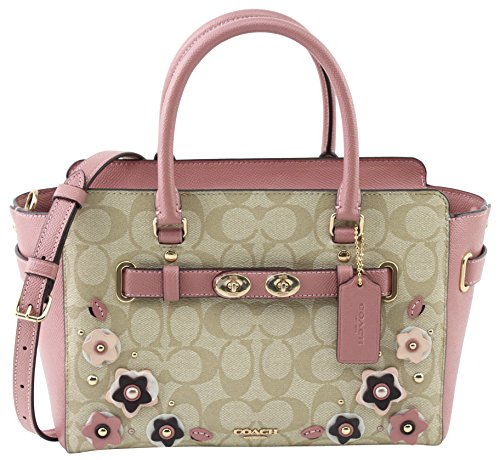 WITH FLORAL COACH SIGNATURE CANVAS CARRYALL F31194 APPLIQUE BLAKE LIGHT 25 IN KHAKI YTxwqYS