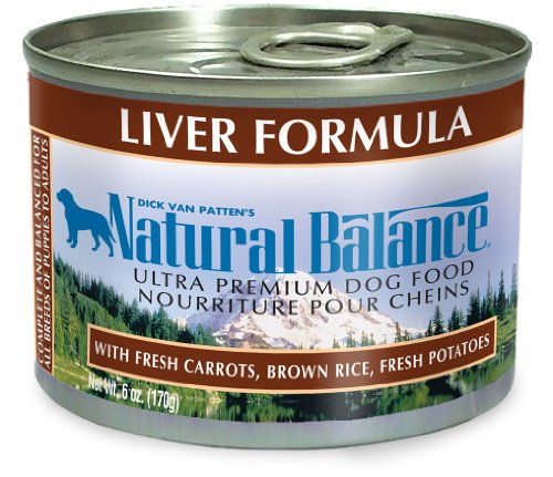 Natural Balance Liver and Brown Rice Formula Dog Food (Pack of 12 6-Ounce Cans), My Pet Supplies