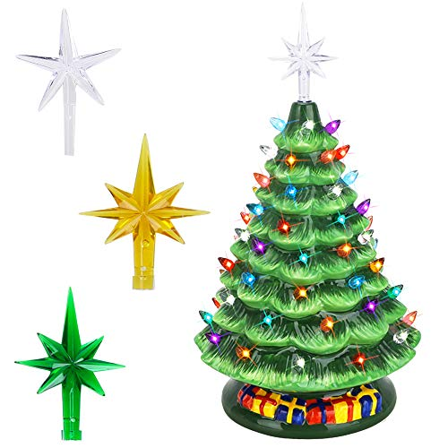 Brobery 16in Pre-Lit Tabletop Ceramic Christmas Tree with Music Box Hand-Painted Artificial Ceramic Christmas Tree with 65 Multicolored Lights (Green) (Music Ceramic Box)