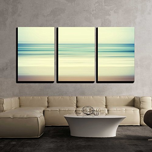 wall26 - 3 Piece Canvas Wall Art - an Abstract Ocean Seascape with Blurred Panning Motion - Modern Home Decor Stretched and Framed Ready to Hang - 16''x24''x3 Panels by wall26