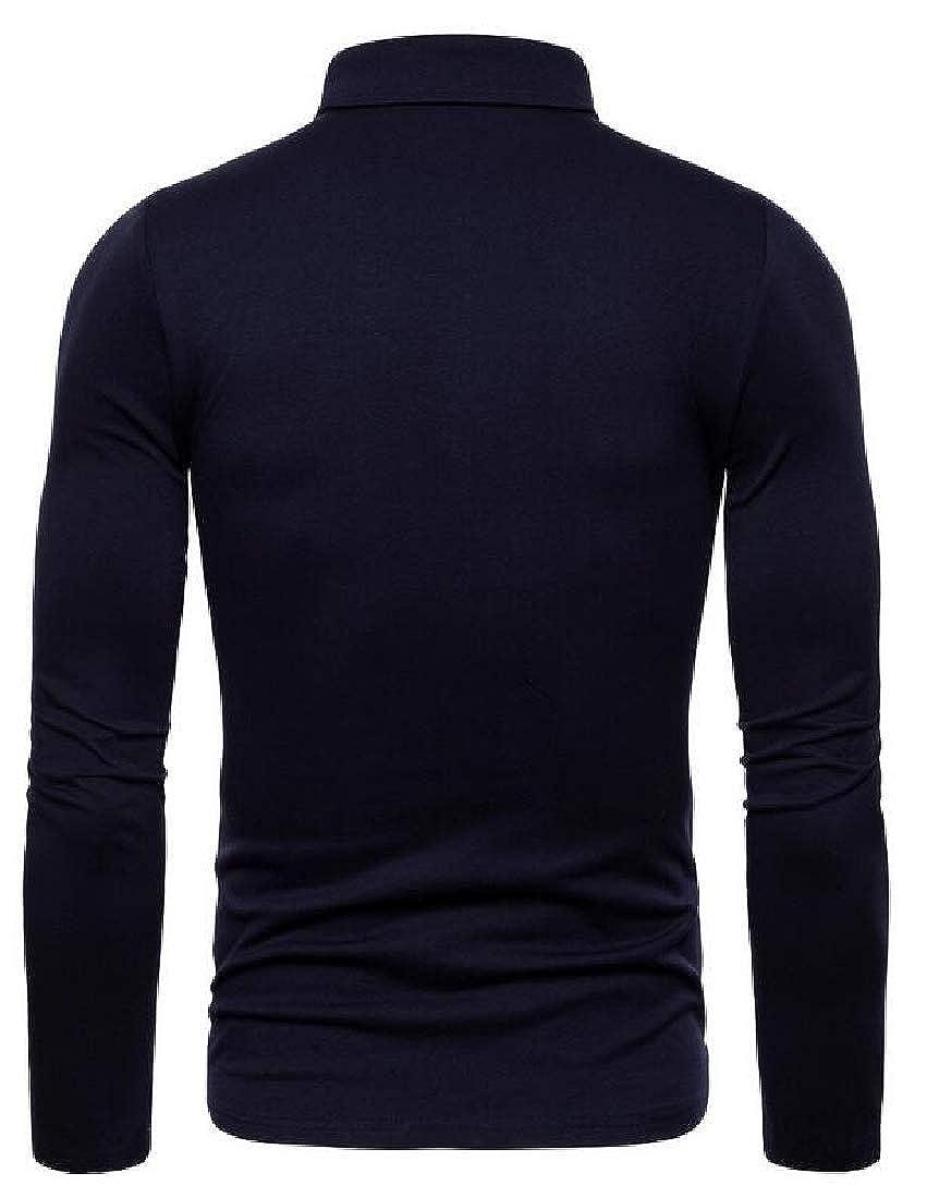 UUYUK Men Lapel T-Shirt Embroidery Long Sleeve Solid Color Slim T-Shirt Tee Top