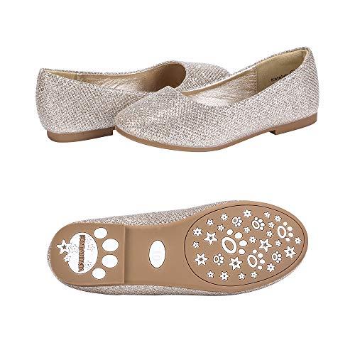 PANDANINJIA Toddler/Little Kids Katelyn Party Wedding Glitter Gold Ballet Flower Mary Jane Girls Flats Dress Shoes ()