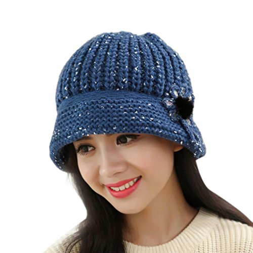 Blue Crochet Flower (Beret Cap, Fashion Womens Flower Knit Crochet Beanie Hat Winter Warm Cap (Blue))