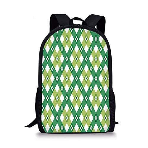 School Bags Floral,Striped Retro Flower Motif with Cross Line Groovy Old Fashion Print,Forest and Lime Green White for Boys&Girls Mens Sport Daypack