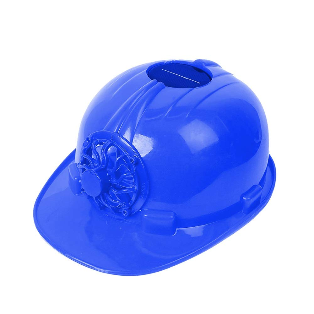 Helmet Hard hat - Fan Cap Factory Workers Summer Ventilation Solar with Fan Construction site Sun Visor hat Construction (Color : Blue)