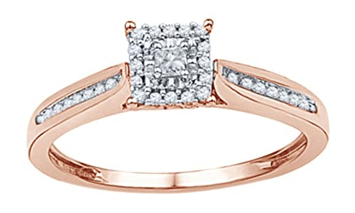 db8cfeee649 AFFY Princess   Round Cut White Natural Diamond Square Frame Promise Ring in  10K Solid Gold (0.2 Cttw)  Amazon.ca  Jewelry