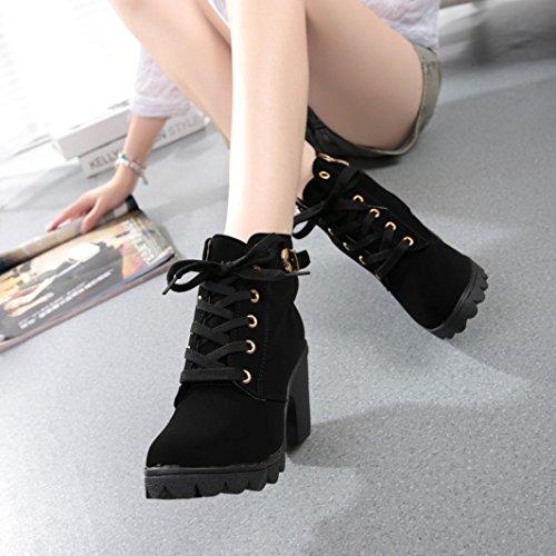 Botas Mujer Otoño invierno 2017 Zapatos de plataforma Zapatos de tacón botines Amlaiworld Negro