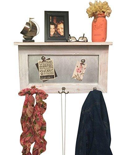 entryway shelf, coat rack, galvanized metal, wood shelf, metal shelf, Rustic Shelf, chippy paint by Country Corner Goods (Image #6)