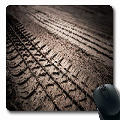 Pandarllin Mousepads Path Dirt Wheel Track Desert On Earth Mud Oblong Shape 7.9 x 9.5 Inches Oblong Gaming Mouse Pad Non-Slip Rubber ()