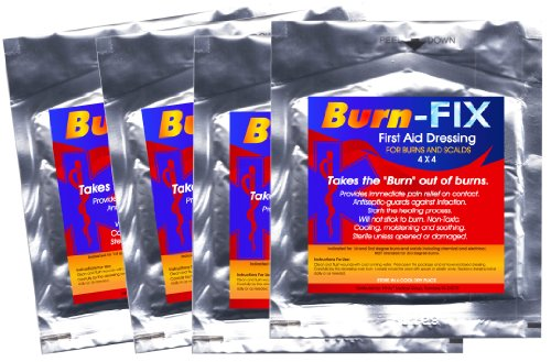 Burn-FIX-4 Pack-Burn Care Treatment & First Aid Hydrogel Burn Dressing. Immediate Pain Relief Gel/Cream For First & Second Degree Burns, Chemical Burns, Electrical Burns, Grease Burns, Razor Burns and Sunburns. For First Aid Kits At Home, Boat, Camp,