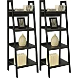 Home Indoor or Outdoor Altra Metal Black Ladder Bookcase Bundle Set of 2 Furniture Frame 4 Shelf Lawrence New Shelves Storage Bookcases, Black with Bookcase dimensions: 60''L x 20.5''W x 18.5''H