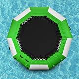 Popsport Inflatable Water Trampoline Series Splash Padded Water Bouncer Inflatable Bouncer Jump Water Trampoline Bounce Swim Platform for Water Sports (Green, 10Ft)