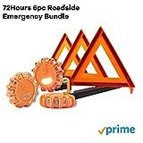 Roadside Emergency Bundle, Roadside Triangles, Roadside Flares, Roadside Emergency Pack 3pcs of Each - By 72Hours