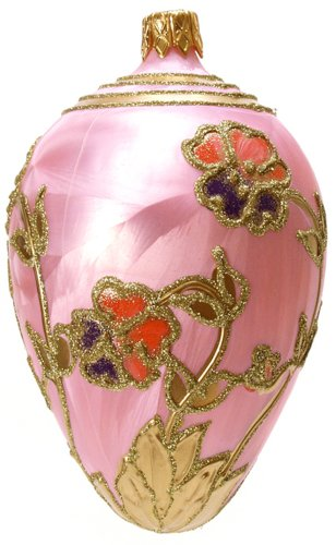 Museum Collection Fabergé Pink Pansy Egg Glass Ornament-Large
