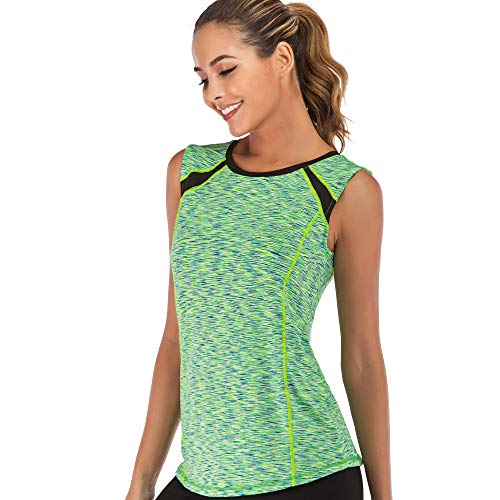 Women Sleeveless Yoga Top Moisture Wicking Athletic Shirts Quick Dry Fitness Workout Activewear Tennis Tank Top (Fluorescent Green, L) (La Fitness Shirt)