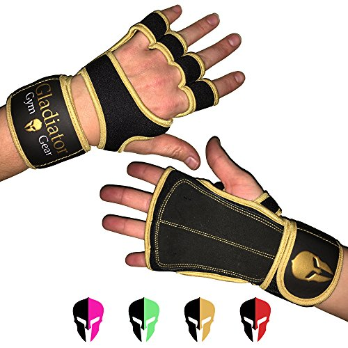 - WOMEN'S WORKOUT GLOVES - CROSS TRAINING GLOVES with built in WRIST WRAP & full LEATHER PALM protection NON SLIP grip. G3 Gloves for WOD WEIGHTLIFTING PULLUPS KETTLEBELLS DUMBBELLS (Gold, Small)