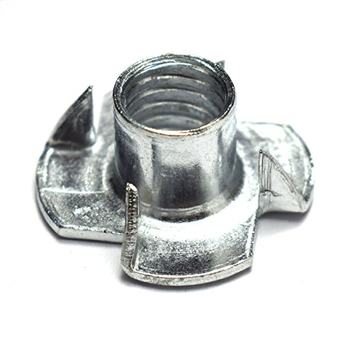 - 25pcs 4 Pronged Tee Blind Nuts Furniture T Nut Inserts For Wood 4 Prongs Knock In Wood 3/8