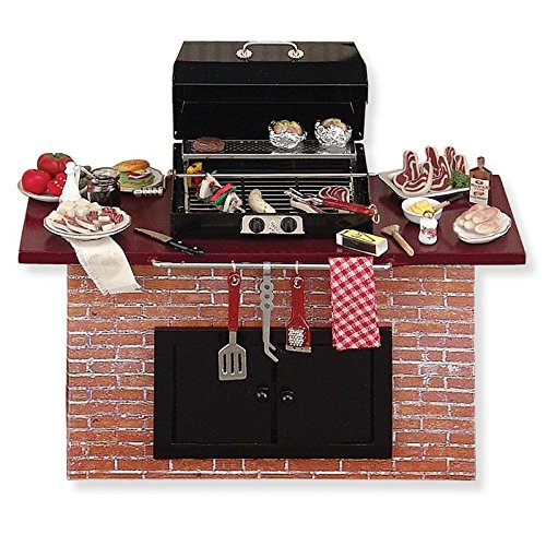 Dollhouse Miniature Complete Barbecue Grill w/Food by Reutter Porcelain